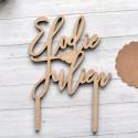 Cake Topper Mariage personnalisé - Coeur