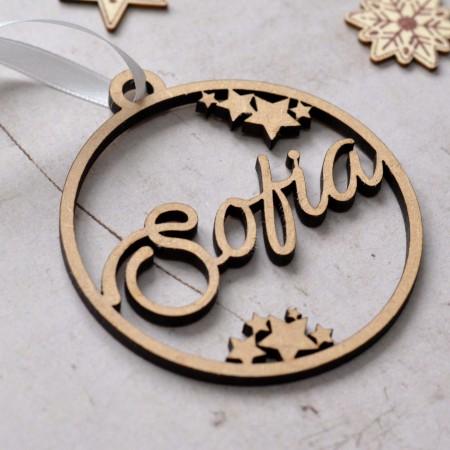 Décoration de Noël en bois avec prénom et étoiles