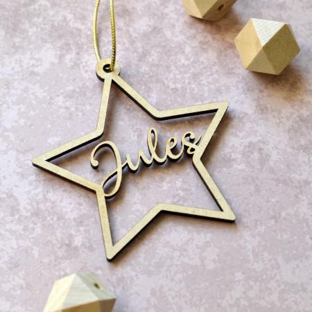 Décoration de Noël en bois étoile avec prénom