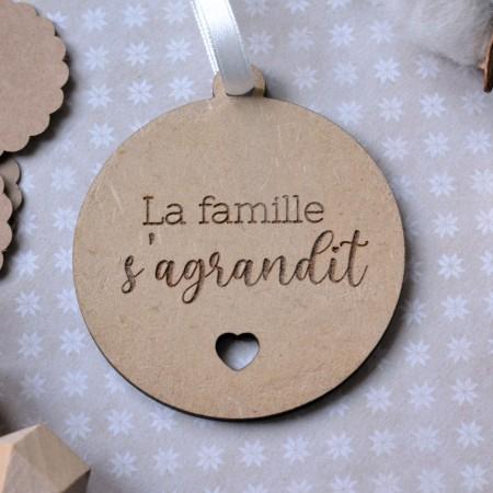 Décoration de Noël en bois - Annonce naissance