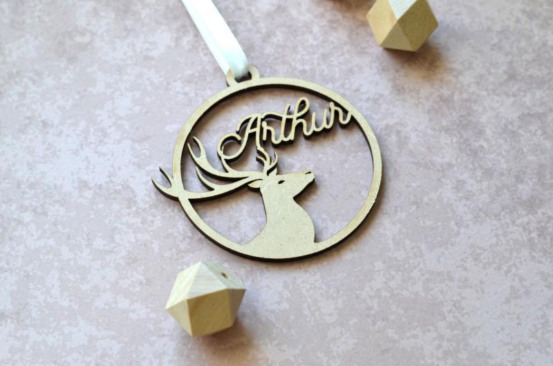 Décoration de Noël en bois avec prénom et Renne