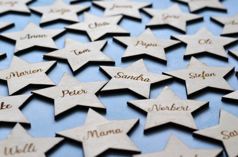 Marque-place Étoile en bois avec prénom
