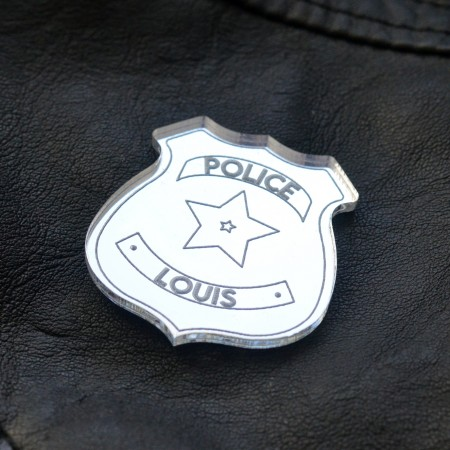 Badge Insigne de Police avec prénom - Acrylique Miroir Argent