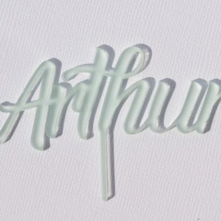 Cake topper personnalisé givré - modèle Arthur