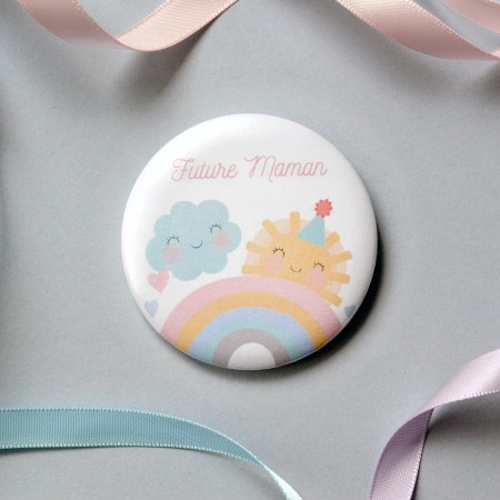 Badge Future Maman - Arc en Ciel