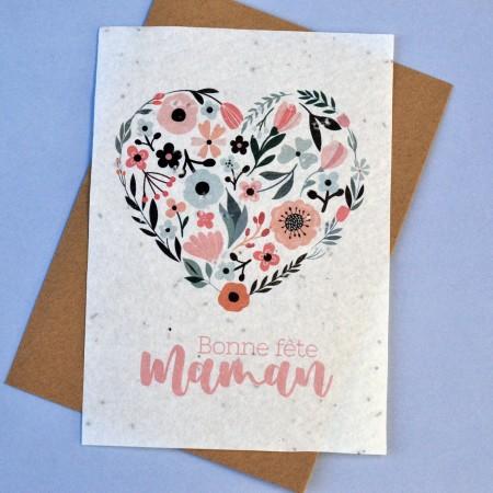 Carte ensemencée Bonne Fête Maman Coeur