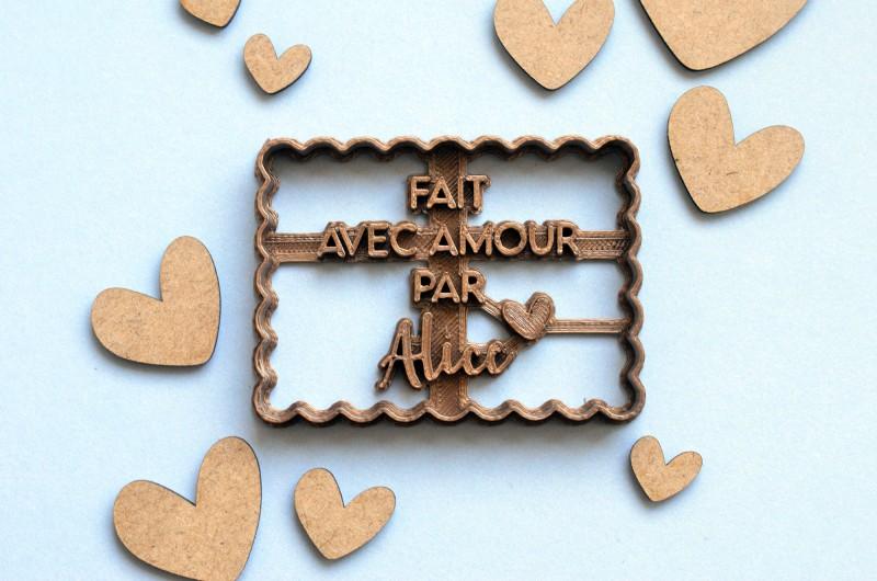 Emporte-Pièce Petit Beurre personnalisé - Fait avec Amour