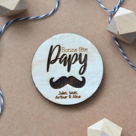 Aimant en bois personnalisé Super Papy Moustache