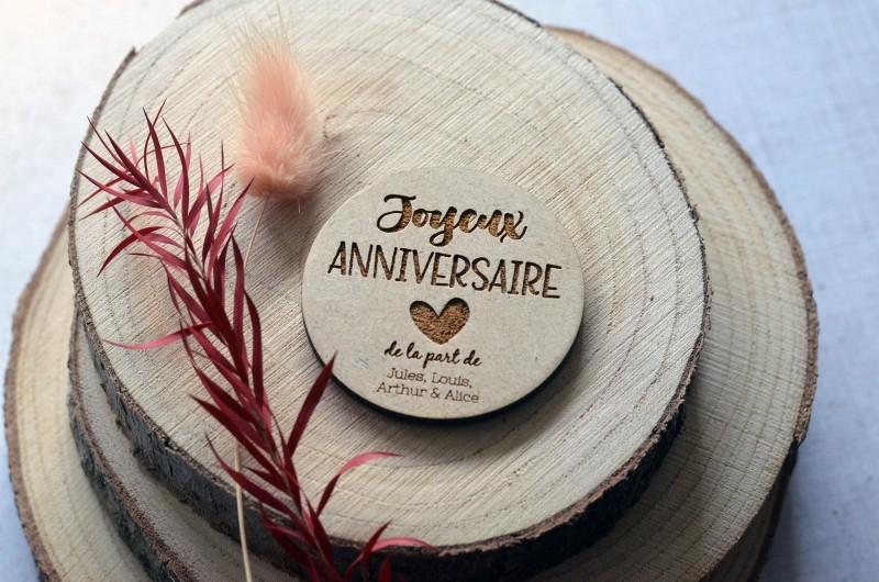 Aimant en bois personnalisé Joyeux Anniversaire