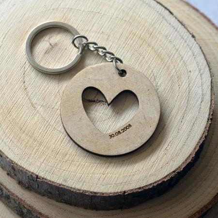 Porte-clé en bois personnalisé Coeur et Date