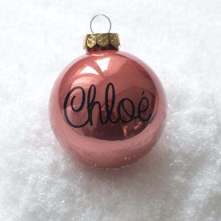 Boule de Noël personnalisée - Rose