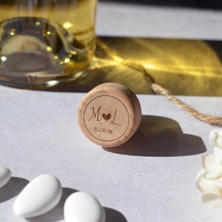 Bouchon en bois personnalisé Mariage