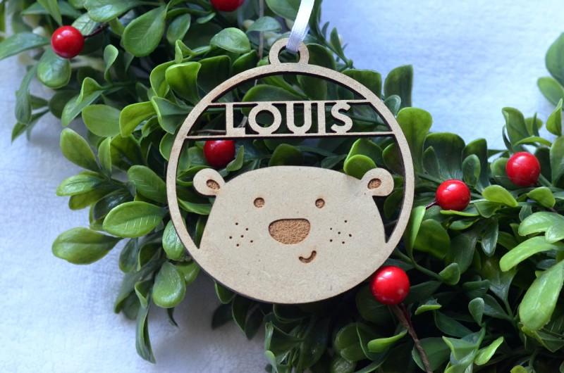 Décoration de Noël en bois Ours avec prénom - Garçon