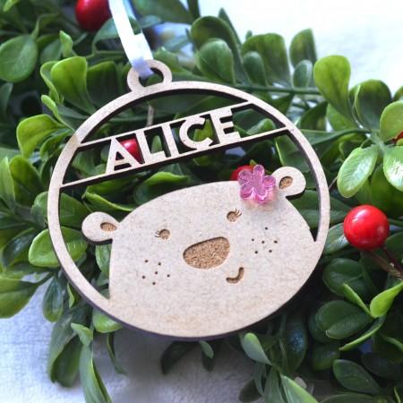 Décoration de Noël en bois Ours avec prénom - Fille