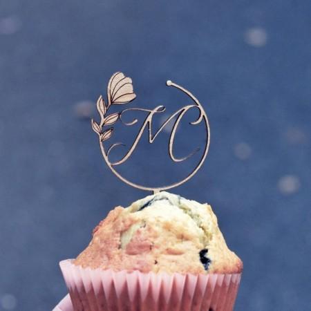 Mini Cake topper Lettre fleurie en bois