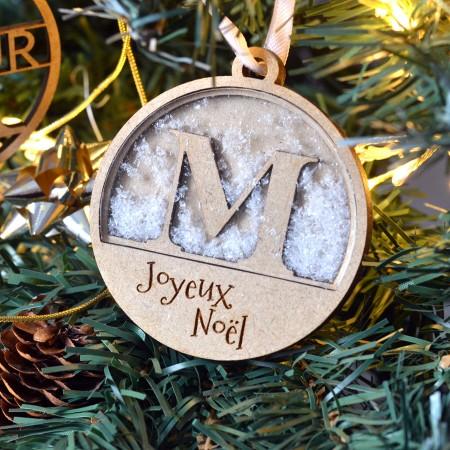 Décoration de Noël en bois Boule à neige personnalisée