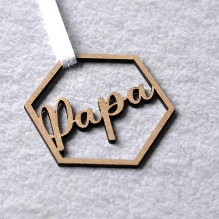 Décoration de Noël en bois Hexagone avec prénom