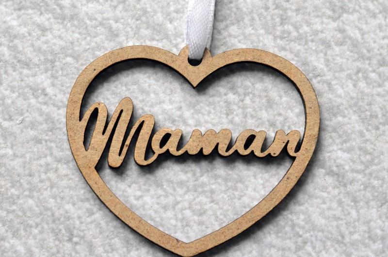Décoration de Noël en bois Coeur avec prénom