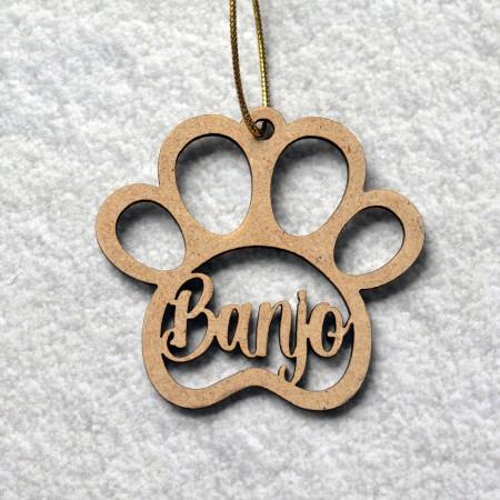 Décoration de Noël en bois Patte de chien avec prénom