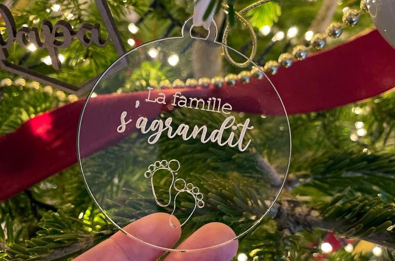 Décoration de Noël transparente La Famille s'agrandit