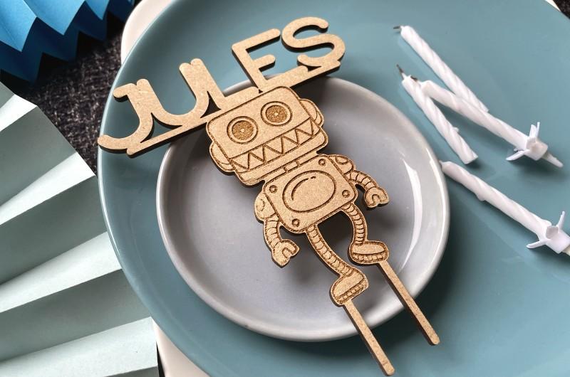 Cake Topper Robot Personnalisé
