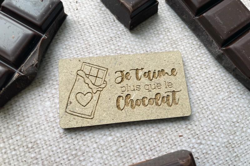 Aimant en bois Je t'aime plus que le chocolat - Amour