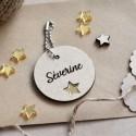 Porte-clé en bois personnalisé étoile