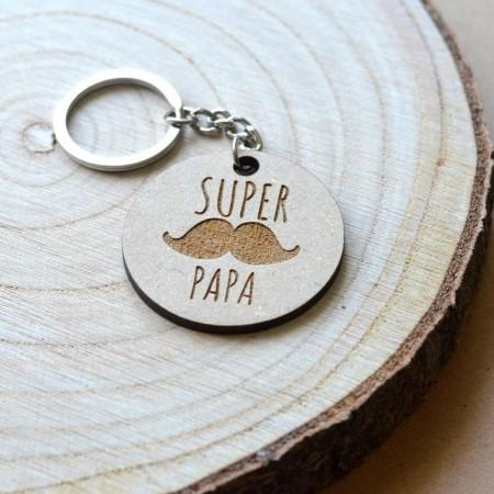 Porte-clé en bois Super Papa
