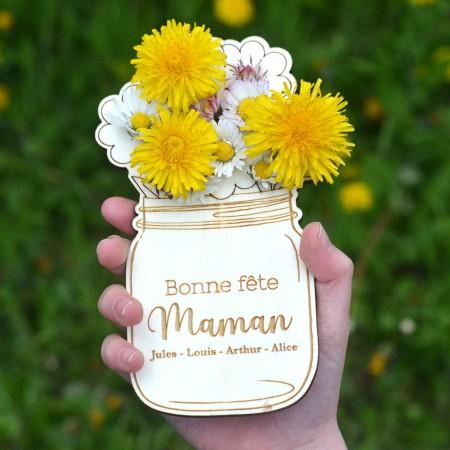 Carte Bouquet de fleurs en bois - Fête des mères