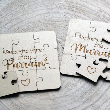 Puzzle en bois Parrain Marraine