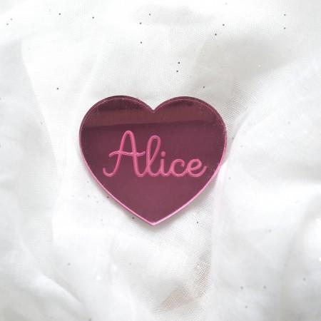 Badge Coeur avec prénom - Acrylique Miroir Rose