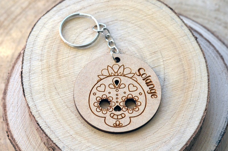 Porte-clé en bois personnalisé Crâne Mexicain