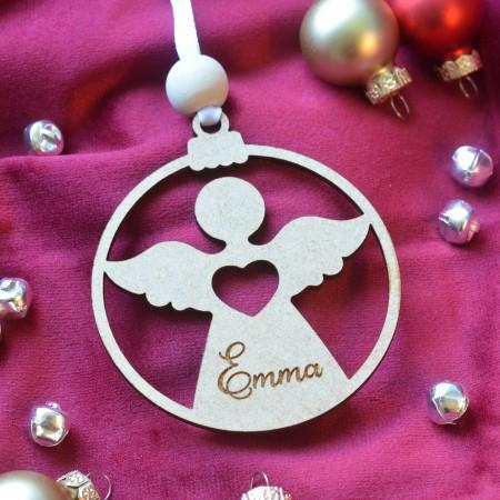 Décoration de Noël en bois Ange avec prénom